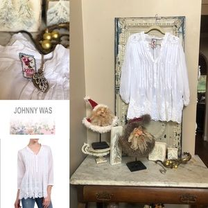 Johnny Was eyelet crisp white Georgette tunic